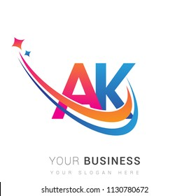 initial letter AK logotype company name colored orange, red and blue swoosh star design. vector logo for business and company identity.
