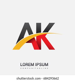 initial letter AK logotype company name colored red, black and yellow swoosh design. isolated on white background.