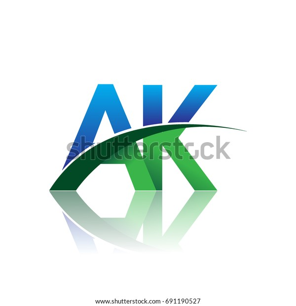 initial letter AK logotype company name colored blue and green swoosh design. vector logo for business and company identity.