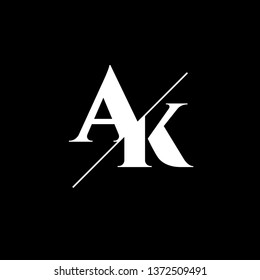 Initial Letter AK Monogram Sliced. Logo template isolated on black background