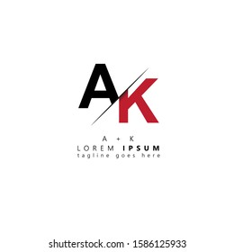 Initial letter ak sliced uppercase modern logo design template elements. Black and red letter Isolated on white background. Suitable for business, consulting group company.