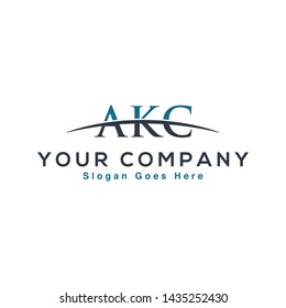 Initial letter AKC, overlapping movement swoosh horizon logo company design inspiration in red and dark blue color vector