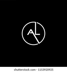 Initial letter AL LA minimalist art monogram shape logo, white color on black background.