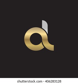 initial letter al linked circle lowercase logo gold silver black background