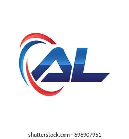 initial letter AL logo swoosh red blue