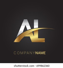 initial letter AL logotype company name colored gold and silver swoosh design. isolated on black background.