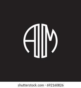 Initial letter AM, minimalist line art monogram circle shape logo, white color on black background