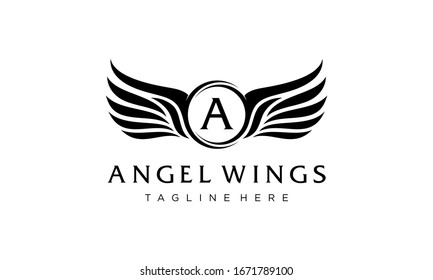 initial letter A with angel wings logo design template