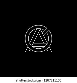 Initial letter AO OA minimalist monogram art logo, white color on black background.