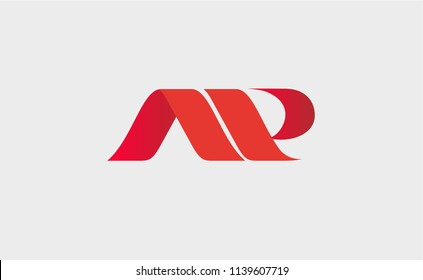 Initial letter AP linked round uppercase logo red. Suitable For Infographics , Company Logo, Print, Digital, Icon, Apps, print T-Shirts and Other