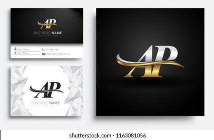 initial letter AP logotype company name colored gold and silver swoosh design. Vector sets for business identity on white background.