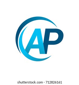 initial letter AP logotype company name blue circle and swoosh design. vector logo for business and company identity.