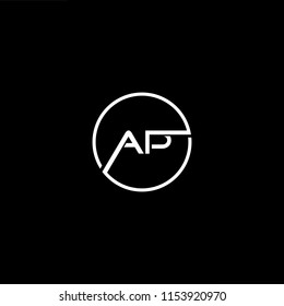 Initial letter AP PA minimalist art monogram shape logo, white color on black background.