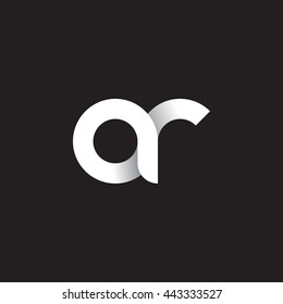 initial letter ar modern linked circle round lowercase logo white black