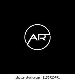 Initial letter AR RA minimalist art monogram shape logo, white color on black background.