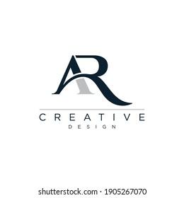 Initial Letter AR typography logo design vector