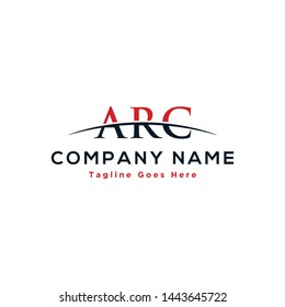 Initial letter ARC, overlapping movement swoosh horizon logo company design inspiration in red and dark blue color vector