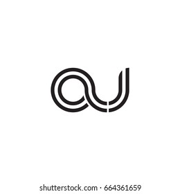 Initial letter au, linked outline rounded lowercase, monogram black