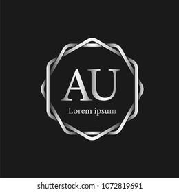 Initial Letter AU Logo Template
