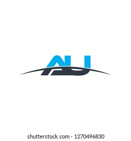 Initial letter AU overlapping movement swoosh horizon logo vector for logo company isolated in black background