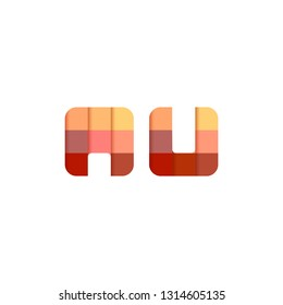 Initial Letter AU Square Pixel Logo Design Inspiration in Red Gradient Color for Media, Technology Brand Identity.