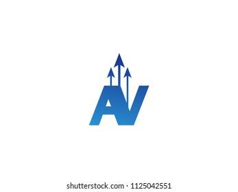 Initial Letter AV Arrow Chart Finance Business