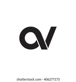 initial letter av linked circle lowercase monogram logo black