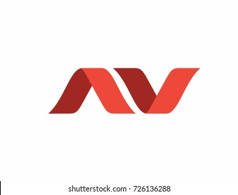 Initial letter av linked round lowercase logo red. Suitable For Infographics , Company Logo, Print, Digital, Icon, Apps, print T-Shirts and Other Marketing Material Purpose