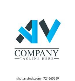Initial Letter AV Logo Icon Design Template Elements. Material design logo