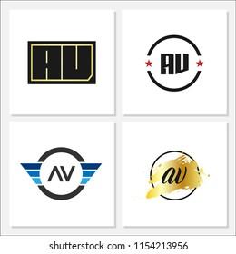 Initial Letter AV Logo Set