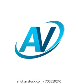 initial letter AV logotype company name colored blue swoosh design concept. vector logo for business and company identity.