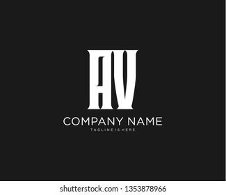 Initial letter AV monogram simple design logo template vector