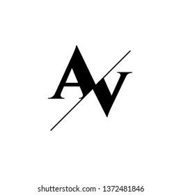 Initial Letter AV Monogram Sliced. Logo template isolated on white background