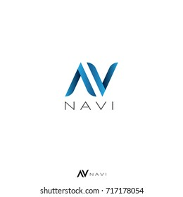 initial letter AV or N logo template. air arrow design concept. creative apps, navigation, map, service, business or web.