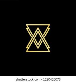 Initial letter AV VA AA VV minimalist art logo, gold color on black background.