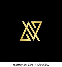 Initial letter AV VA minimalist art logo, gold color on black background.
