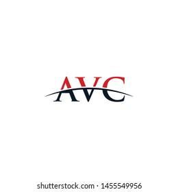 Initial letter AVC, overlapping movement swoosh horizon logo company design inspiration in red and dark blue color vector