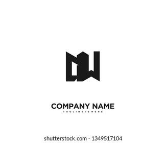 Initial letter AW minimalist art logo vector