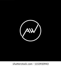 Initial letter AW WA minimalist art monogram shape logo, white color on black background.