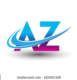 initial letter AZ logotype company name colored blue and magenta swoosh design. vector logo for business and company identity.