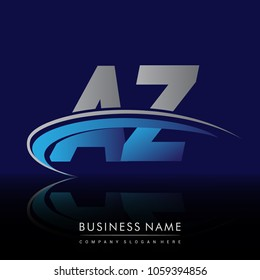 initial letter AZ logotype company name colored blue and grey swoosh design. vector logo for business and company identity.