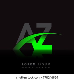 initial letter AZ logotype company name colored green and black swoosh design. vector logo for business and company identity.