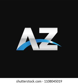 Initial letter AZ, overlapping movement swoosh logo, metal silver blue color on black background
