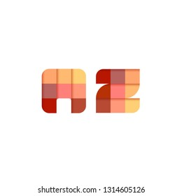 Initial Letter AZ Square Pixel Logo Design Inspiration in Red Gradient Color for Media, Technology Brand Identity.