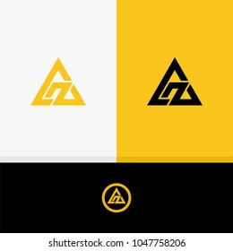Initial letter AZ in triangle yellow logo vector illustration.