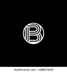 Initial letter B BB BBB BO OB minimalist art monogram shape logo, white color on black background.