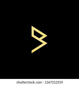 Initial letter B BB BM MB minimalist art logo, gold color on black background.