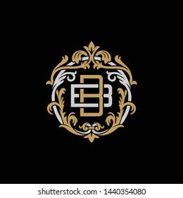 Initial letter B and B, BB, decorative ornament emblem badge, overlapping monogram logo, elegant luxury silver gold color on black background