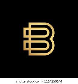 Initial letter B BB minimalist art logo, gold color on black background