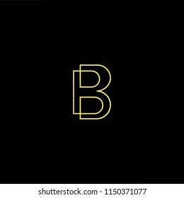 Initial letter B BB minimalist art monogram shape logo, gold color on black background
